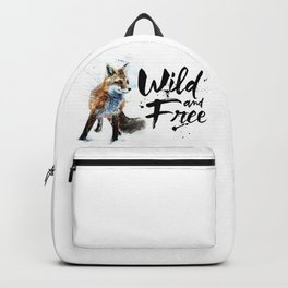 Fox wild & free watercolor painting Backpack