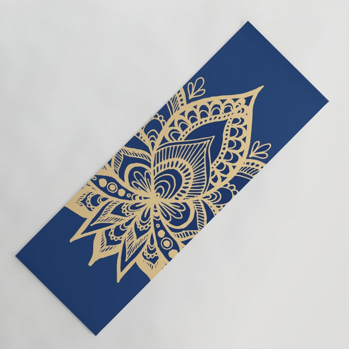 Gold And Blue Lotus Flower Mandala Yoga Mat By Julieerindesigns Society6