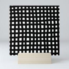 Brush grid black white seamless pattern. Abstract monochrome check background, crossing brush Stroke Mini Art Print