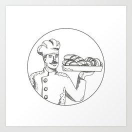 Baker Holding Bread on Plate Doodle Art Art Print
