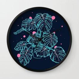 Monstera Deliciosa in the Night Wall Clock