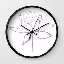 Lotus Blossom Calligraphy Lavender Wall Clock
