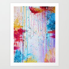 HAPPY TEARS Bright Cheerful Abstract Acrylic Painting, Drip Splat Bold Pink Red Purple Spring Art Art Print