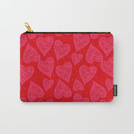Valentine Hearts Light Red Backgroun Carry-All Pouch
