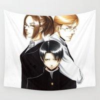 shingeki no kyojin Wall Tapestries featuring OriSor Shingeki No Kyojin High School Fanart by Mistiqarts by Mistiqarts