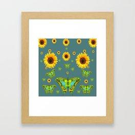 SUNFLOWERS & GREEN MOTHS ABSTRACT ART Framed Art Print