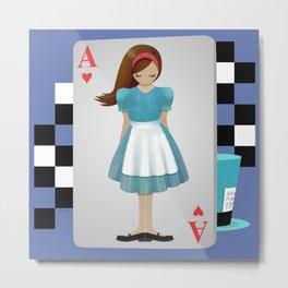 Alice 3D Flying Cards Metal Print