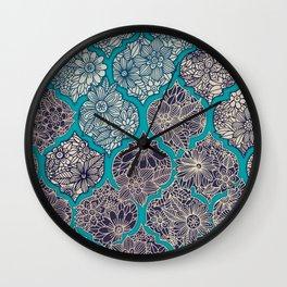 Moroccan Floral Lattice Arrangement - teal Wall Clock