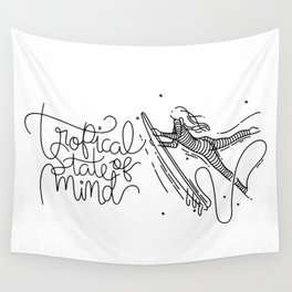 Tropical State Of Mind - Landscape - Black & White Wall Tapestry