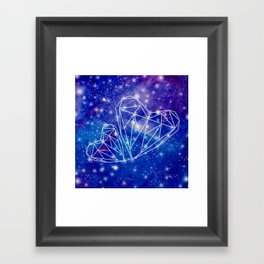 Two hearts on the watercolor galaxy, starry night, Valentines day gift Framed Art Print