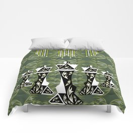 Green and Gold Embellished Queens Comforters