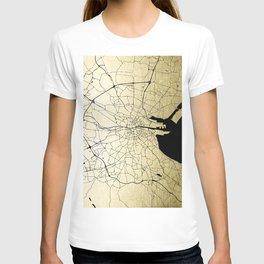 Dublin Ireland Green on White Street Map T-shirt