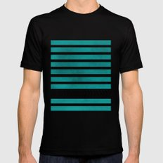 TEAL STRIPES AND ARROWS LARGE Black Mens Fitted Tee