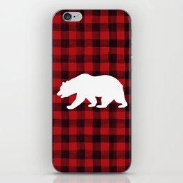 Red Plaid Bear iPhone Skin