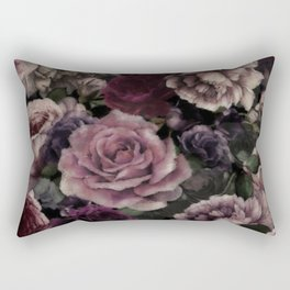 Roses In Burgundy And Pink Vintage Botanical Garden Flowers Rectangular Pillow