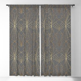 Art Deco in Textured Grey - Large Scale Blackout Curtain