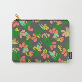 Henri's Garden in gray // tropical flora pattern Carry-All Pouch