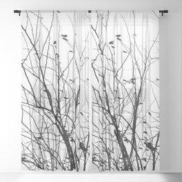 Black white tree branch bird nature pattern Sheer Curtain
