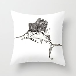 Surfing the fish Throw Pillow