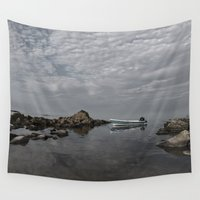 lonely Wall Tapestries featuring Lonely boat on the sea by UtArt