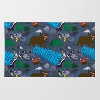 camping Area & Throw Rugs featuring Camping by Chris Piascik
