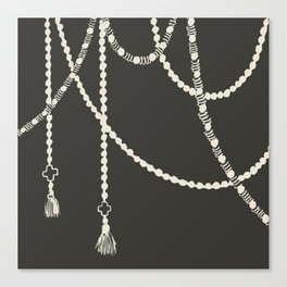 Beaded Garland With Tassels in Black Canvas Print