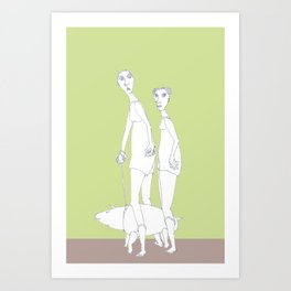 two girls and a dog Art Print