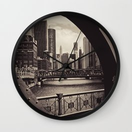 Up The Chicago River Wall Clock