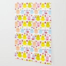 Kawaii colorful blue green orange pink yellow chick Wallpaper
