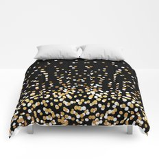 Floating Dots - White and Gold on Black Comforters