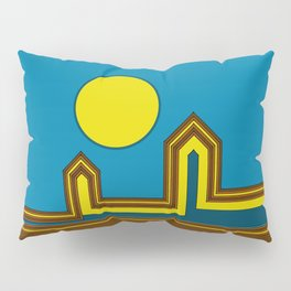 Line Houses with Yellow Sun Pillow Sham