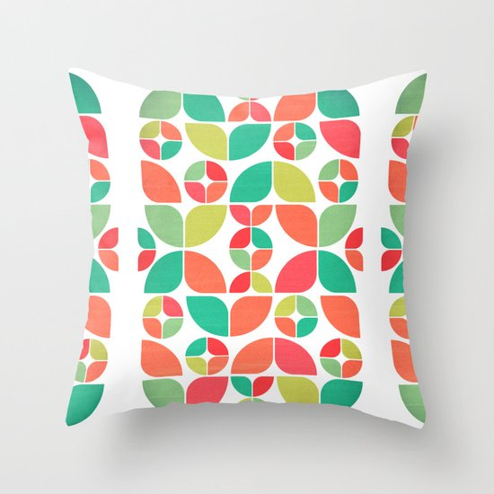Vintage Summer Pattern Throw Pillow
