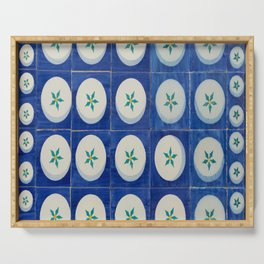 Blue squares green leaves Serving Tray