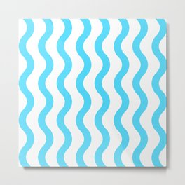 Blue Waves Pattern Metal Print