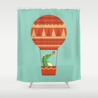 hot Shower Curtains featuring Dragon On Hot Air Balloon by Picomodi