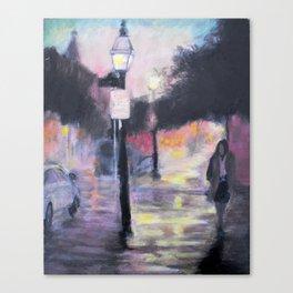 Rainy City Night Canvas Print