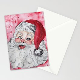 Vintage Santa Face Christmas Watercolor Stationery Cards