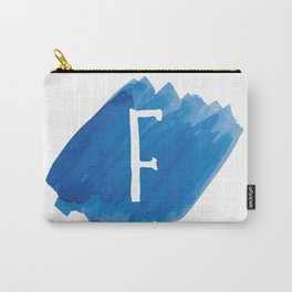 Letter F Blue Watercolor Carry-All Pouch