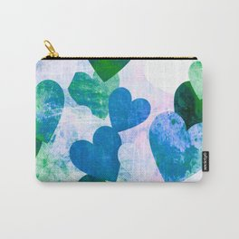 Fab Green & Blue Grungy Hearts Design Carry-All Pouch