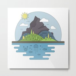 Mountains World Metal Print