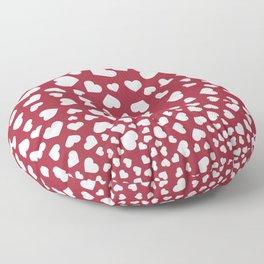 Modern red white romantic valentine's hearts pattern Floor Pillow