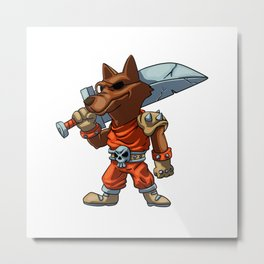 funny warrior wolf  cartoon - angry knight werewolf Metal Print