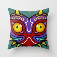 majora Throw Pillows featuring Majora Inspired Mask by Clover