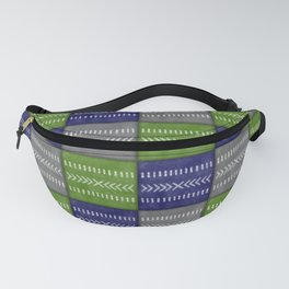 Tribal Patchwork in Navy, Lime and Gray Fanny Pack