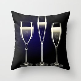 Transparent champagne glasses with sparkles on black background Throw Pillow