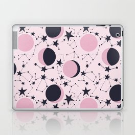 Moon and Stars in pink and blue Laptop & iPad Skin