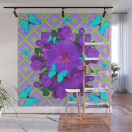 Turquoise Butterflies Purple Green Pattern Floral Wall Mural