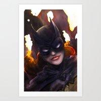batgirl Art Prints featuring Batgirl by Nicole Ales Art