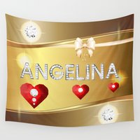 angelina jolie Wall Tapestries featuring Angelina 01 by Daftblue
