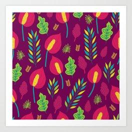 Tropical Flora 6 On Deep Magenta Art Print